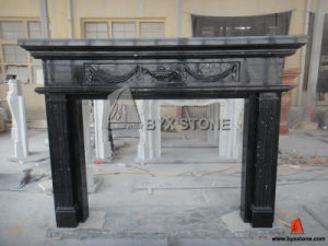 European Style Nero Marqunia Black Marble Fireplace with Veins pictures & photos