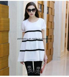 Sweet Round Neck Stripe Printing Women T Shirt Women Clothes pictures & photos