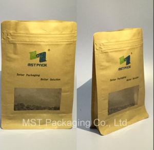 Kraft Paper Flat Bottom Pocket Zipper Pouch pictures & photos
