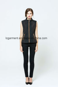 Unique Cutting Winter Latest Zipper Girl Vest Faux Suede Waistcoat pictures & photos