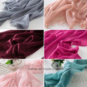 Lady Wholesale Plain Deyed Linen/ Cotton Scarf / Shawl (HWBLC11) pictures & photos