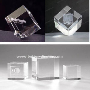 Custom Crystal Glass 3D Laser Etched Paperweight pictures & photos