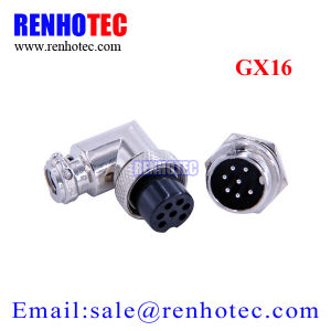 16mm Angled Circular 7 Pin Gx16 Aviation Plug Socket Connector pictures & photos