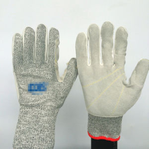 Hppe+Glass Fiber Work Gloves with Leather Sewing, Cut 5 pictures & photos