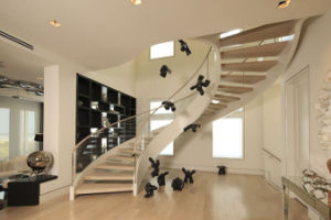 Stainless Steel Spine Wood Stair Curved Glass Arc Staircase pictures & photos