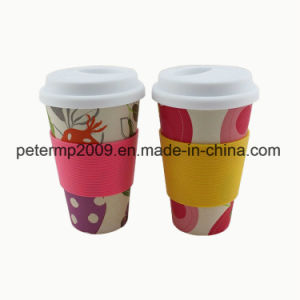 LFGB Approved Bamboo Fibre Eco Friendly Cups with Silicone Lid and Holder pictures & photos