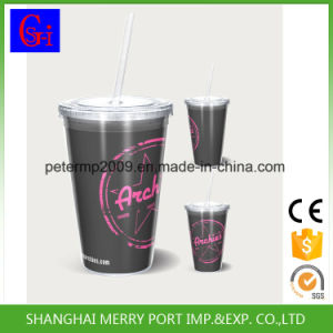 Colorful Double Wall BPA Free Plastic Straw Water Bottle pictures & photos
