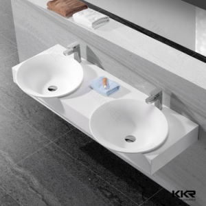 Bathroom Pure Acrylic Solid Surface Double Faucet Basin pictures & photos