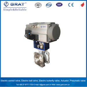 Wafer Type Double Adjustment Pneumatic Actuator Ball Valve pictures & photos