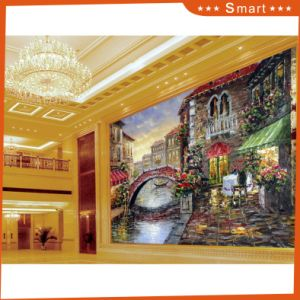 2017 River Across Town Scenery Canvas Printing Landscape Oil Painting Model No: Hx-4-009 pictures & photos