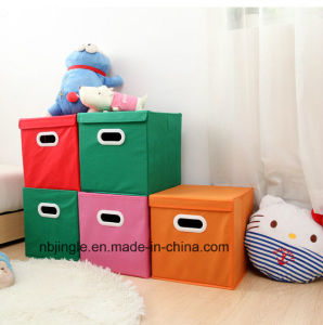 Non-Woven Fabric Toys Closet Storage Cube Organizer with Plastic Handle, (Pink&Red&Green)