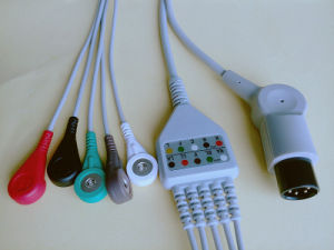 Medical Monitor 6pin Aha Snap/Clip 5 ECG Cable pictures & photos