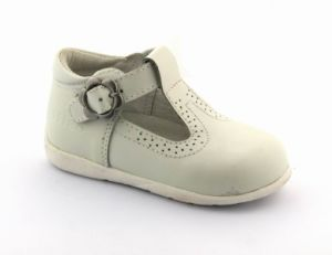 Buckle Girls White Leather Mary Jane School Shoes Arch Support pictures & photos