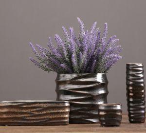 Metal Glaze Ceramic Flower Vase for Home Decoration