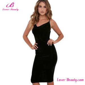 Slinky Black Velvet Shoulder Women Dress pictures & photos