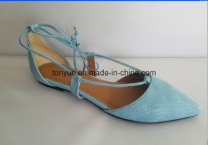Lady Leather Serpentine Lashing with Pointed Flat Shoes pictures & photos