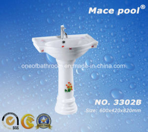 Floor Standing Bathroom Ceramic One Piece Pedestal Basin (3302B) pictures & photos