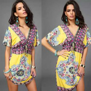 Wholesale Sexy Women V-Neck Beach Floral Kaftan with Lace (XY201) pictures & photos