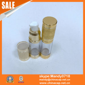 Gold Airless Dispenser Cream Bottle Cosmetics with White Pump pictures & photos