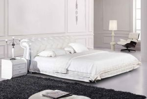 White Elegant Upholstered Tufted Button King Size Bed (LB-045) pictures & photos