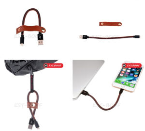 Luxury Genuine Cow Leather Phone Data Wire Cable USB Charger pictures & photos