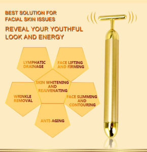 24k Gold Beauty Bar Pulse Wrinkle Removal Face-Lift Vibrating 24k Golden Homemade Easy to Carry Beauty Instrument pictures & photos