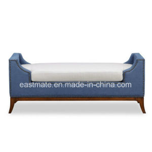 Custom Hotel Furniture Blue Tufted Fabric White Upholstered Bed Foot Stool pictures & photos