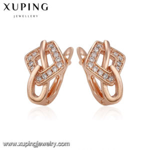 93988 Fashion Pretty Zircon Rose Pink Gold Earring pictures & photos