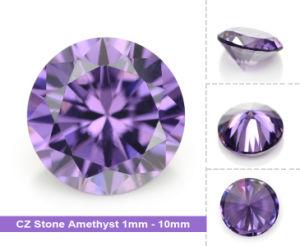 Wuzhou Factory Round Amethyst Cubic Zirconia Gemstone pictures & photos