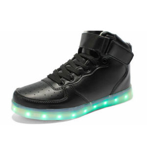 Genuine Leather Casual Running Shoes Luminous LED Shoes pictures & photos