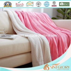 New Design Polyester Sherpa Plus Flaneel Fleece Two Layer Blanket pictures & photos