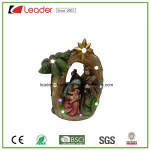 Magnesium Christmas Gifts Santa House Statue with LED Light for Home Decoration pictures & photos