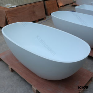 1700 Oval Design Freestanding Solid Surface Stone Bathtub pictures & photos