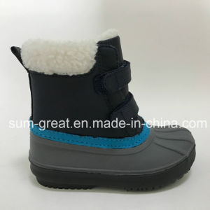 Warm Fashion Kids and Women Blue Cotton Boots with Top Quality