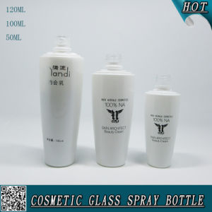 120ml 100ml 50ml Cosmetic Glass Lotion Pump Bottle with Silver Cap pictures & photos