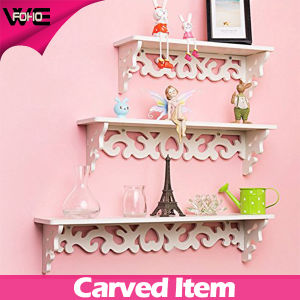 Modern Filigree Style Carve White Wooden-Plastic Wall Shelf for CD Book Display pictures & photos