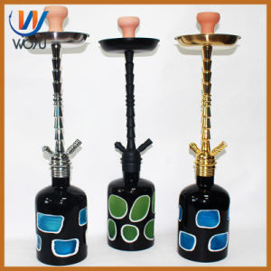 Ling Angle Hookah Glass Thread Mouth Design and High Quality Artificial Cutter Pattern Hookah Bottle pictures & photos