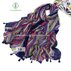 Large Multicolor Stripe Sunscreen Fringed Fashion Lady Scarf Shawl pictures & photos