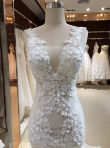 Mermaid Trumpet V Neck Real Sample Wedding Dress pictures & photos