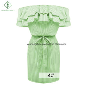 Newest off-Shoulder Flounce Striped Slim Fashion Ladies Dress with Belt pictures & photos