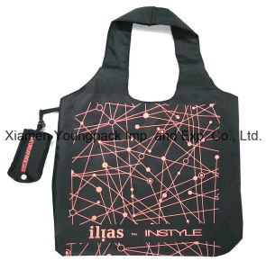 Custom Printed Eco Friendly Black Lightweight Nylon Foldable Tote Bag in Pouch pictures & photos