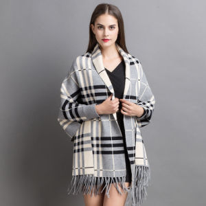 Women Fashion Checked Acrylic Cashmere Knitted Winter Fringed Shawl (YKY2070) pictures & photos