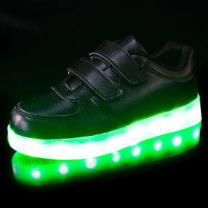 Light up Shoes Kids Black Straps pictures & photos