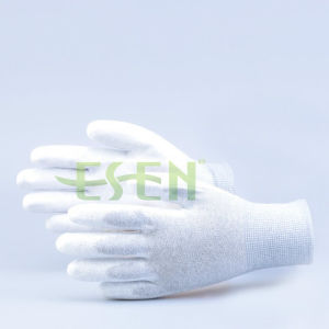 Antistatic 13G Seamless Knitted Nylon Carbon Fiber ESD PU Palm Coated Work Gloves pictures & photos