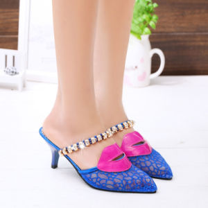 The Spring and Summer of 2017 Diamond Gauze Lvkong Lace Baotou Leisure Slippers Female High-Heeled Shoes Wholesale Sexy Lips pictures & photos