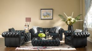 Chesterfield Living Room Top Grain Leather Sofa pictures & photos