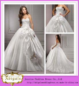 Fashionable Designs White Full Length Ball Gown Sweetheart Neckline Beaded Tulle Fat Size Wedding Dress (PD10035)