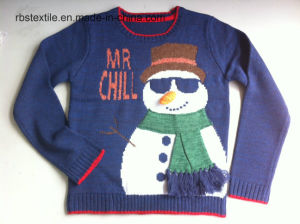Boys Snowman Intarsia - True Knitted Sweater pictures & photos