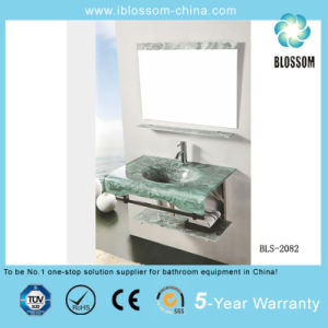 Simple Wall-Mounted Glass Wash Basin with Silver Mirror (BLS-2082) pictures & photos