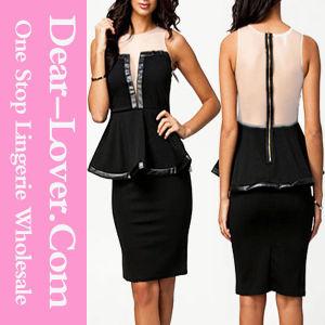 Black Sleeveless Mesh Back Peplum Dress pictures & photos